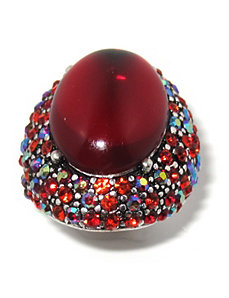 Red Crystal Stretch Ring by PalmBeach Jewelry