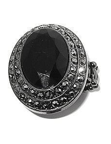 Black and Grey Crystal Stretch Ring by PalmBeach Jewelry