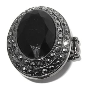 Black and Grey Crystal Stretch Ring