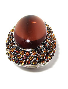 Amber-Colored Crystal Stretch Ring by PalmBeach Jewelry