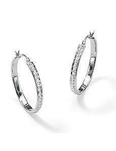Diamond Fascination Hoop Earrings by PalmBeach Jewelry