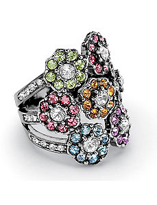 Multi-Colored Crystal Flower Ring by PalmBeach Jewelry