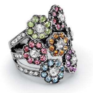 Multi-Colored Crystal Flower Ring