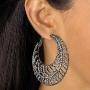 Crystal Leaf Hoop Pierced Earrings