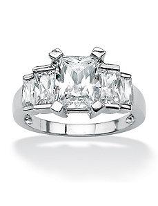 Princess-Cut Baguette Cubic Zirconia Step Ring by PalmBeach Jewelry