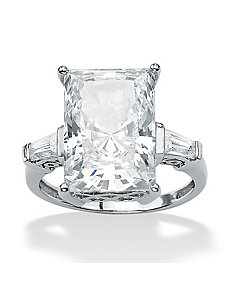 Radiant-Cut and Baguette Cubic Zirconia Ring by PalmBeach Jewelry
