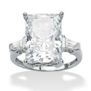 Radiant-Cut and Baguette Cubic Zirconia Ring