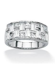 Cubic Zirconia Basketweave Ring by PalmBeach Jewelry