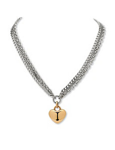 Triple-Chain Heart Pendant-Necklace by PalmBeach Jewelry