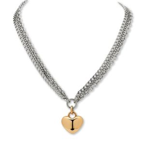 Triple-Chain Heart Pendant-Necklace