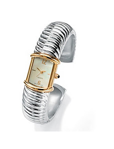 Ribbed Cuff Watch by PalmBeach Jewelry