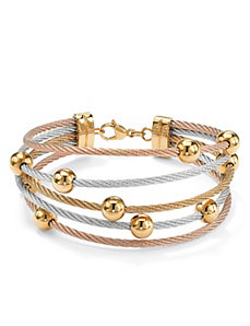 Cable-Link Beaded Bracelet by PalmBeach Jewelry