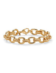 Textured/Polished Rolo Bracelet by PalmBeach Jewelry