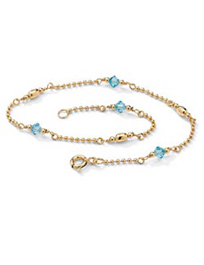 Birthstone Beaded Ankle Bracelet by PalmBeach Jewelry