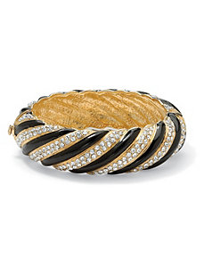 Crystal Striped Bangle Bracelet by PalmBeach Jewelry