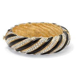 Crystal Striped Bangle Bracelet