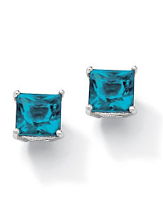 Princess-Cut Birthstone Earrings by PalmBeach Jewelry