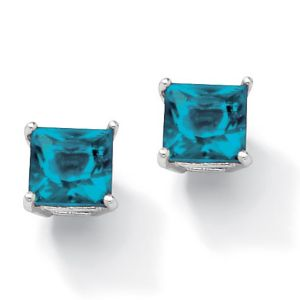 Princess-Cut Birthstone Earrings
