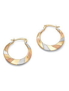 Tritone Hoop Pierced Earrings by PalmBeach Jewelry