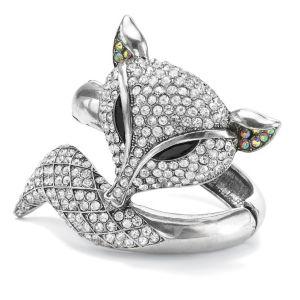 Crystal Fox Hinged Bangle Bracelet