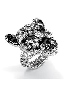 Crystal Leopard Stretch Ring by PalmBeach Jewelry