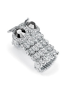 Crystal Owl Stretch Ring by PalmBeach Jewelry