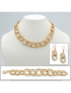 Crystal Curb-Link Jewelry Set by PalmBeach Jewelry
