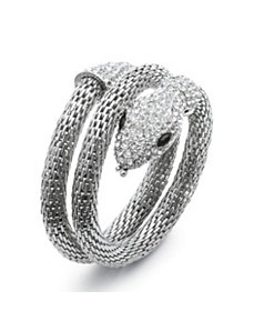 Crystal Coiled Snake Mesh Bracelet by PalmBeach Jewelry