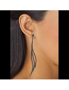 Grey Crystal Curved Drop Earrings by PalmBeach Jewelry