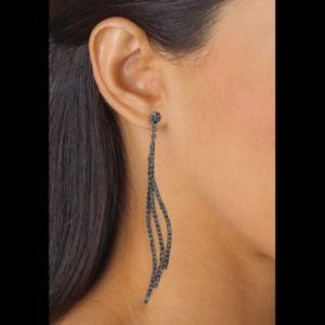 Grey Crystal Curved Drop Earrings
