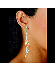 Clear Crystal Curved Drop Earrings by PalmBeach Jewelry