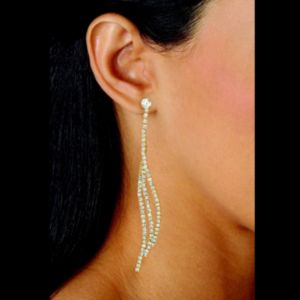 Clear Crystal Curved Drop Earrings