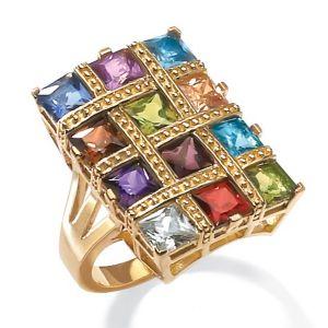 Multi-Colored Cubic Zirconia Ring