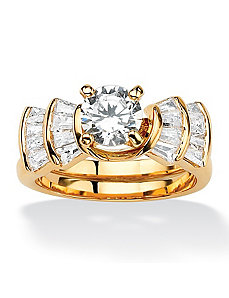 Round and Baguette Cubic Zirconia Step Ring by PalmBeach Jewelry