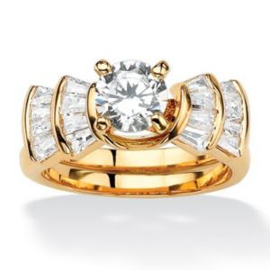 Round and Baguette Cubic Zirconia Step Ring