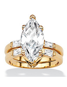 Marquise and Baguette Cubic Zirconia Ring Set by PalmBeach Jewelry