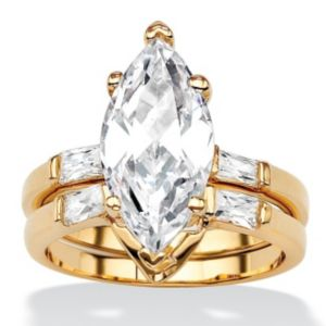 Marquise and Baguette Cubic Zirconia Ring Set