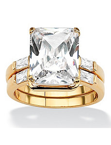 Octagon and Baguette Cubic Zirconia Ring Set by PalmBeach Jewelry