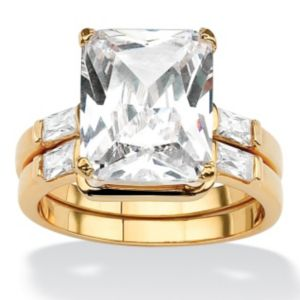 Octagon and Baguette Cubic Zirconia Ring Set