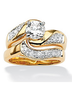 Round Cubic Zirconia Ring Set by PalmBeach Jewelry
