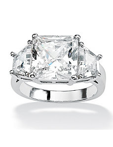 Princess and Baguette Cubic Zirconia Ring by PalmBeach Jewelry
