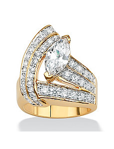 Marquise and Round Cubic Zirconia Wrap Ring by PalmBeach Jewelry