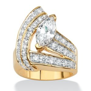 Marquise and Round Cubic Zirconia Wrap Ring