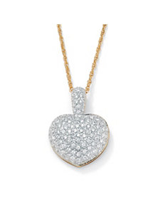 Cubic Zirconia Heart-Shaped Pendant by PalmBeach Jewelry