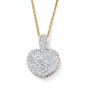 Cubic Zirconia Heart-Shaped Pendant