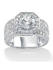 Round Cubic Zirconia Octagon-Shaped Ring by PalmBeach Jewelry