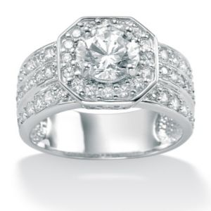 Round Cubic Zirconia Octagon-Shaped Ring