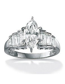 Marquise-Cut and Baguette Cubic Zirconia Ring by PalmBeach Jewelry
