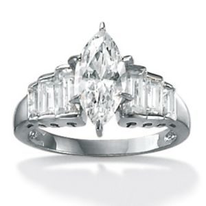 Marquise-Cut and Baguette Cubic Zirconia Ring