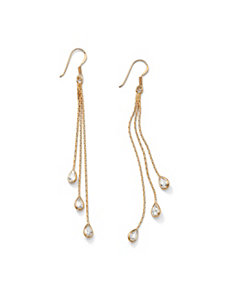 Pear-Shaped Cubic Zirconia Chain Drop Earrings by PalmBeach Jewelry